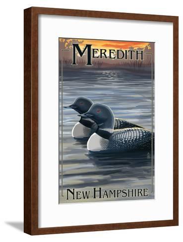 Meredith, New Hampshire - Loons-Lantern Press-Framed Art Print