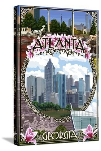 Atlanta, Georgia - City Scenes Montage-Lantern Press-Stretched Canvas Print