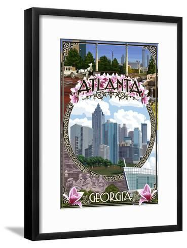 Atlanta, Georgia - City Scenes Montage-Lantern Press-Framed Art Print
