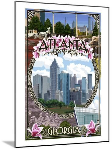Atlanta, Georgia - City Scenes Montage-Lantern Press-Mounted Art Print