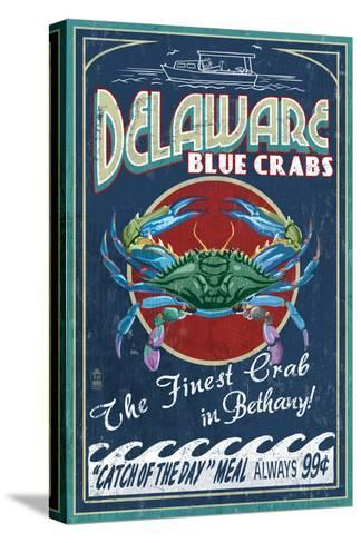 Bethany, Delaware Blue Crabs-Lantern Press-Stretched Canvas Print