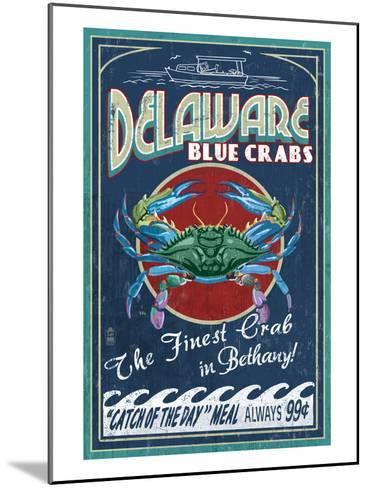 Bethany, Delaware Blue Crabs-Lantern Press-Mounted Art Print