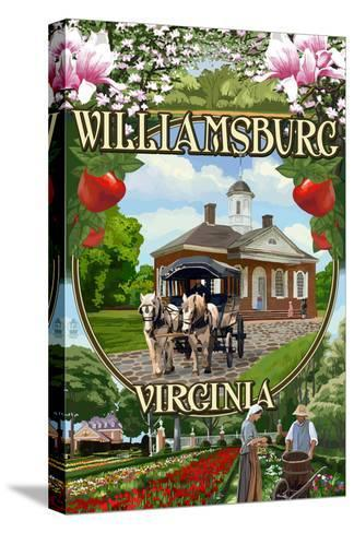 Williamsburg, Virginia - Montage Scenes-Lantern Press-Stretched Canvas Print