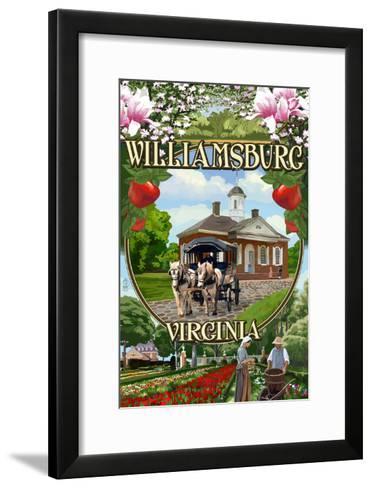 Williamsburg, Virginia - Montage Scenes-Lantern Press-Framed Art Print