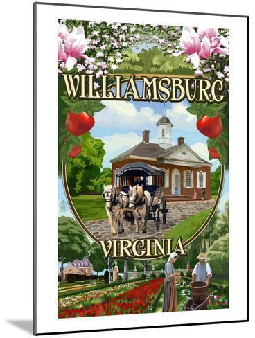Williamsburg, Virginia - Montage Scenes-Lantern Press-Mounted Art Print