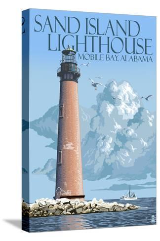 Sand Island Lighthouse - Mobile Bay, Alabama-Lantern Press-Stretched Canvas Print