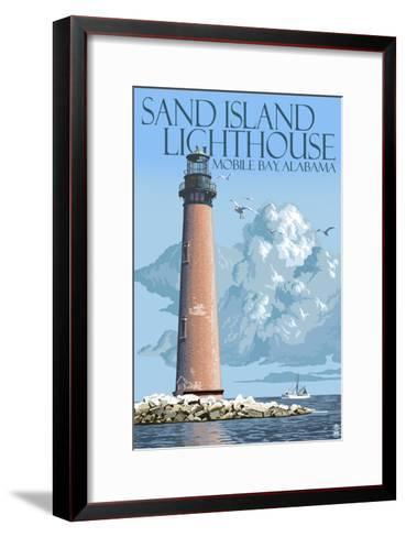 Sand Island Lighthouse - Mobile Bay, Alabama-Lantern Press-Framed Art Print