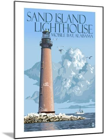 Sand Island Lighthouse - Mobile Bay, Alabama-Lantern Press-Mounted Art Print