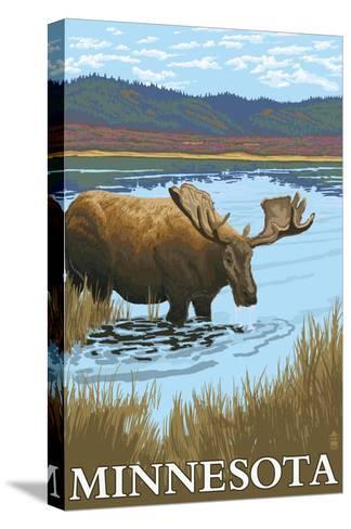 Minnesota - Moose and Lake-Lantern Press-Stretched Canvas Print