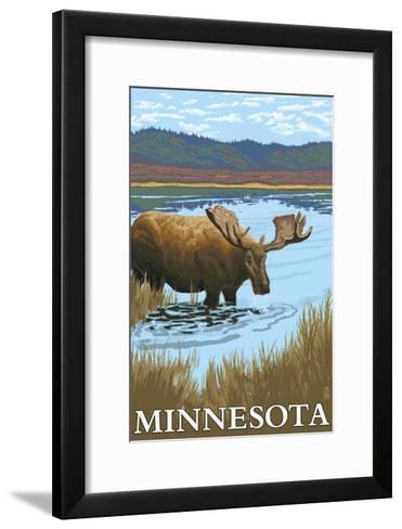 Minnesota - Moose and Lake-Lantern Press-Framed Art Print