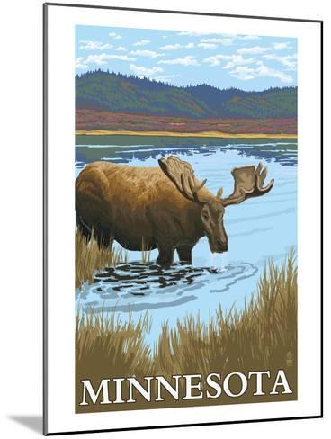 Minnesota - Moose and Lake-Lantern Press-Mounted Art Print