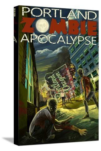 Portland, Oregon - Zombie Apocalypse-Lantern Press-Stretched Canvas Print