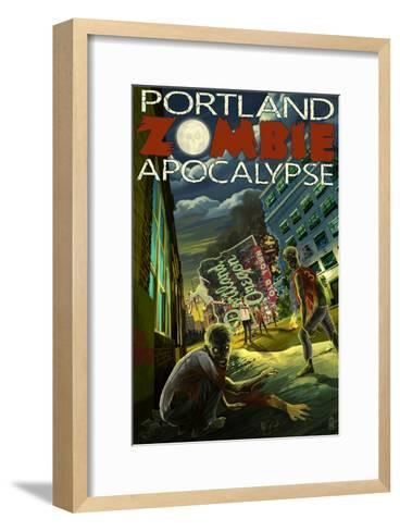 Portland, Oregon - Zombie Apocalypse-Lantern Press-Framed Art Print