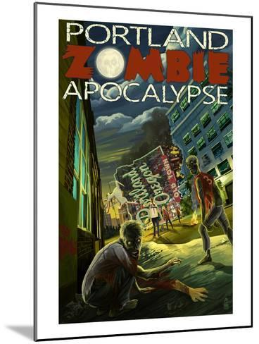 Portland, Oregon - Zombie Apocalypse-Lantern Press-Mounted Art Print