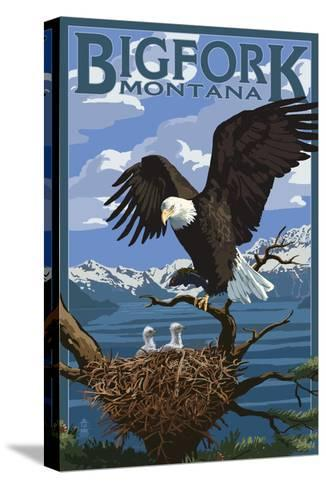 Bigfork, Montana - Eagle and Chicks-Lantern Press-Stretched Canvas Print