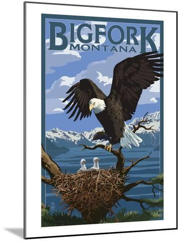 Bigfork, Montana - Eagle and Chicks-Lantern Press-Mounted Art Print