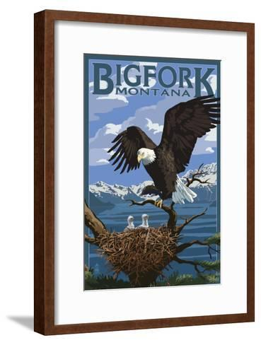 Bigfork, Montana - Eagle and Chicks-Lantern Press-Framed Art Print