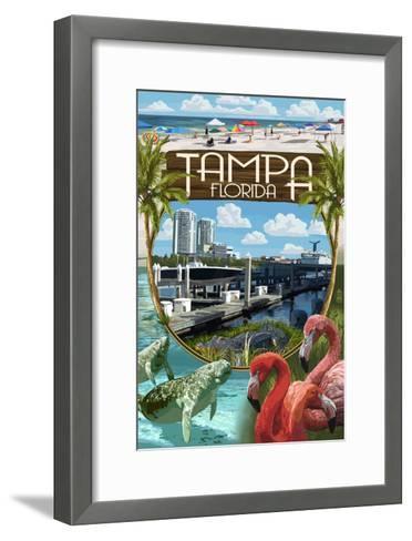 Tampa, Florida - Montage-Lantern Press-Framed Art Print