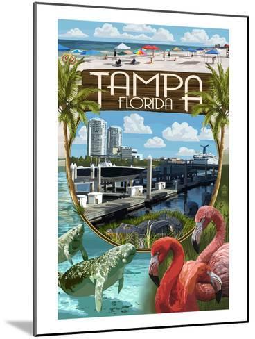 Tampa, Florida - Montage-Lantern Press-Mounted Art Print