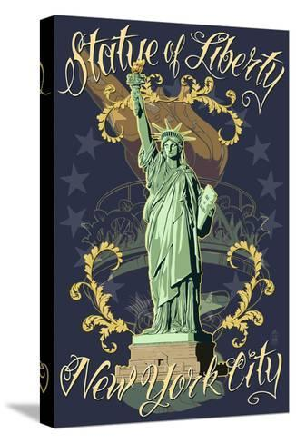 Statue of Liberty National Monument - New York City, NY - Blue-Lantern Press-Stretched Canvas Print