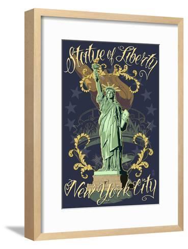 Statue of Liberty National Monument - New York City, NY - Blue-Lantern Press-Framed Art Print