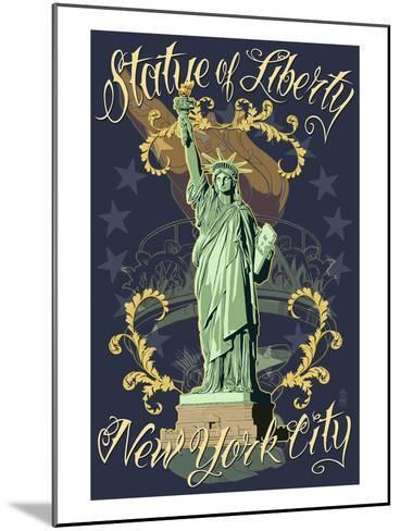 Statue of Liberty National Monument - New York City, NY - Blue-Lantern Press-Mounted Art Print