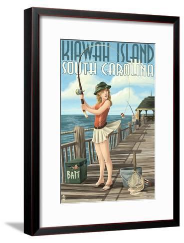 Kiawah Island, South Carolina - Pinup Girl Fishing-Lantern Press-Framed Art Print