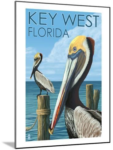 Key West, Florida - Brown Pelican-Lantern Press-Mounted Art Print