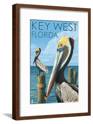 Key West, Florida - Brown Pelican-Lantern Press-Framed Art Print
