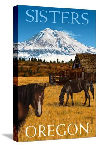 Horses and Mountain - Sisters, Oregon-Lantern Press-Stretched Canvas Print