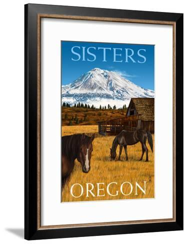 Horses and Mountain - Sisters, Oregon-Lantern Press-Framed Art Print