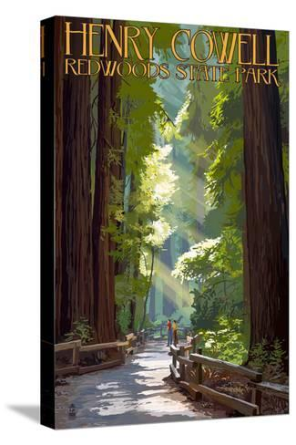 Henry Cowell Redwoods State Park - Pathway in Trees-Lantern Press-Stretched Canvas Print