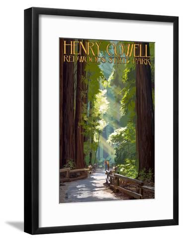 Henry Cowell Redwoods State Park - Pathway in Trees-Lantern Press-Framed Art Print