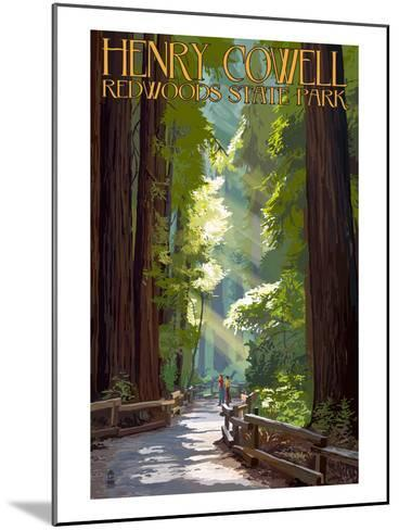 Henry Cowell Redwoods State Park - Pathway in Trees-Lantern Press-Mounted Art Print