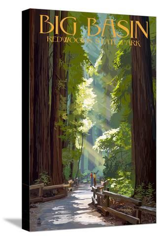 Big Basin Redwoods State Park - Pathway in Trees-Lantern Press-Stretched Canvas Print