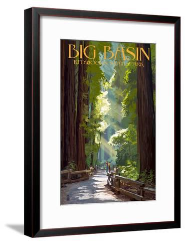 Big Basin Redwoods State Park - Pathway in Trees-Lantern Press-Framed Art Print
