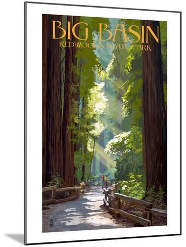 Big Basin Redwoods State Park - Pathway in Trees-Lantern Press-Mounted Art Print