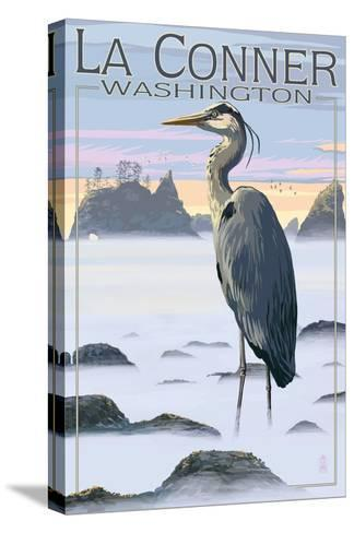 La Conner, Washington - Blue Heron-Lantern Press-Stretched Canvas Print