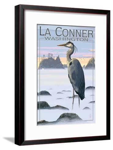 La Conner, Washington - Blue Heron-Lantern Press-Framed Art Print