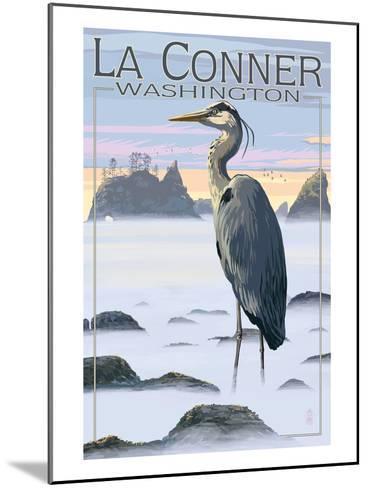 La Conner, Washington - Blue Heron-Lantern Press-Mounted Art Print