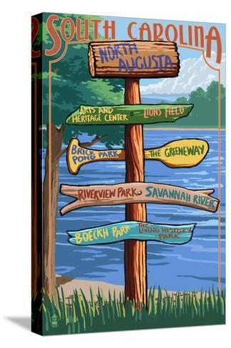 North Augusta, South Carolina - Sign Destinations-Lantern Press-Stretched Canvas Print