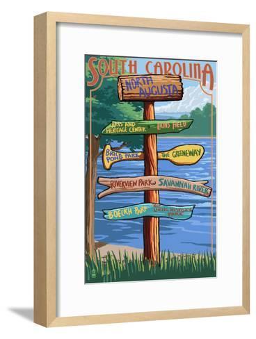 North Augusta, South Carolina - Sign Destinations-Lantern Press-Framed Art Print