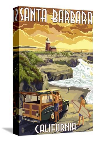 Santa Barbara, California - Woody and Lighthouse-Lantern Press-Stretched Canvas Print