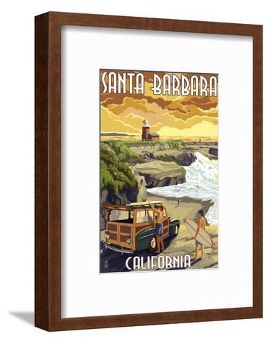 Santa Barbara, California - Woody and Lighthouse-Lantern Press-Framed Art Print