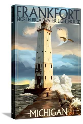 Frankfort Lighthouse, Michigan-Lantern Press-Stretched Canvas Print