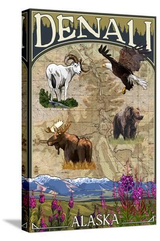Denali, Alaska - Topographical Map-Lantern Press-Stretched Canvas Print