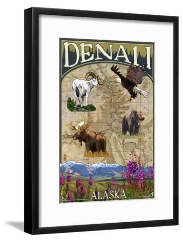 Denali, Alaska - Topographical Map-Lantern Press-Framed Art Print