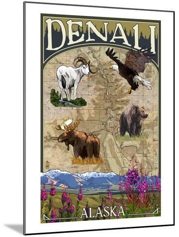 Denali, Alaska - Topographical Map-Lantern Press-Mounted Art Print
