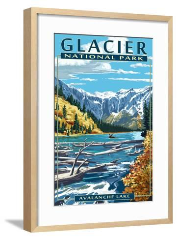 Avalanche Lake - Glacier National Park, Montana-Lantern Press-Framed Art Print