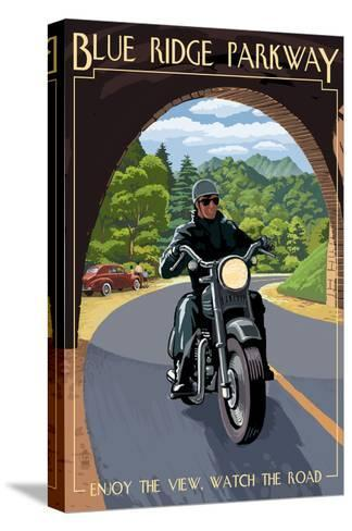 Motorcycle and Tunnel - Blue Ridge Parkway-Lantern Press-Stretched Canvas Print